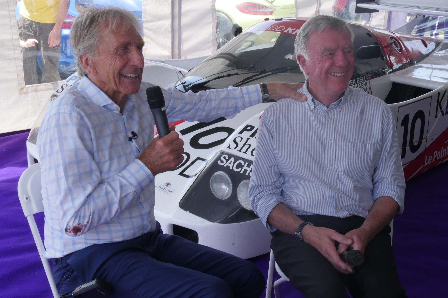Derek Bell being interviewed by Mike Wilds