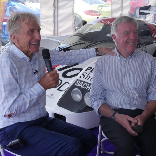 Derek Bell being interviewed by Mike Wilds